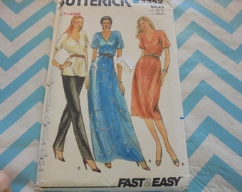 Sz XL (20)  Butterick 3352 Maxi Dress Midi Dress Dolman Tunic and Skinny Pants Disco 1970s Sewing Pattern