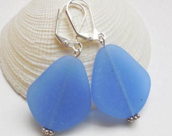 Large Sky Blue Sea Glass Earrings, Beach Jewelry, Beach Glass Earrings, Seaglass Jewelry, Sky Blue Earrings. Free Shipping in US
