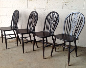 Four fiddleback kitchen chairs