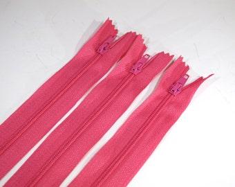 BULK! 10pc zipper 30cm / 12 inch pink closed end (Z79B)