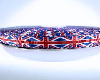 "5 yards of 3/8 inch ""UK flag"" grosgrain ribbon"