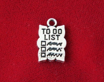 """BULK! 15pc """"To do list"""" charms in silver style (BC813B)"""