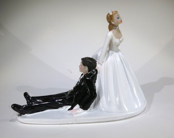 "1pc ""taking a plunge"" vintage style wedding cake topper (D24)"