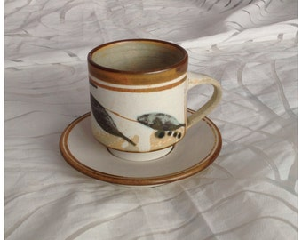 SALE! Studio Pottery Stoneware Cup and Saucer, Grey and Brown Leaf Pattern, Hand Made in Australia by Malcolm Cooke