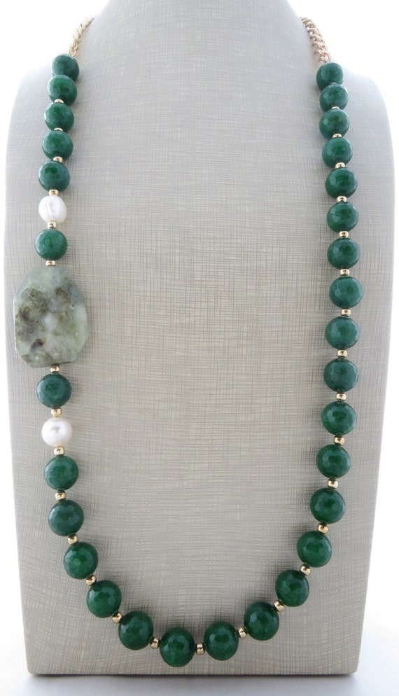 Green Emerald Jade Necklace Chunky Necklace Beaded Necklace