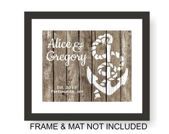 Anchor Wedding Art Print - Faux Wood, Rustic Nautical Wedding, Wedding Gift Print, First Anniversary, Newlywed, Personalized Wedding Present