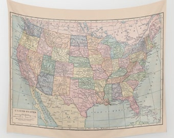 United States Map Tapestry Wall hanging - US map, dorm  beautiful map, travel decor, wall decor atlas, den, bedroom, library - customize