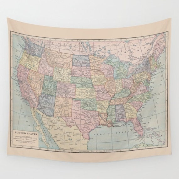 United States Map Tapestry Wall Hanging Us Map Dorm