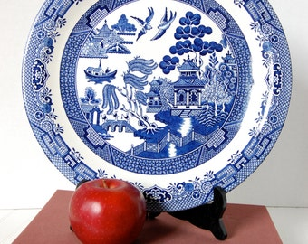 Blue Willow Round Platter by Churchill England Asian Blue & White Chinoiserie