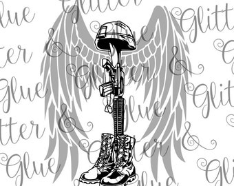 Battlefield Cross with Angel Wings for Military Veteran SVG File