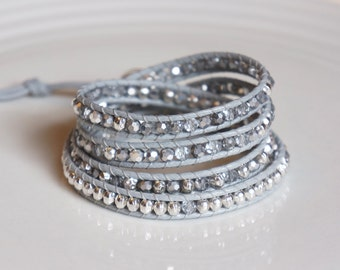 Silver Wrap Bracelet with silver plated bead