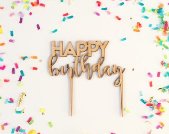 Happy Birthday Cake Topper - Petite Party Studio