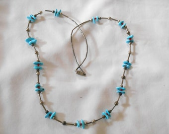 Turquoise, Coral and Silver Tone Necklace. (213)