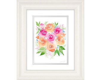 Colorful Flower Painting Print by Michelle Mospens, flower print, rose print, watercolor, painting, wall art print, floral painting