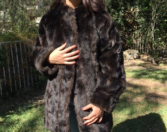 Faux fur coat ,Brown, large