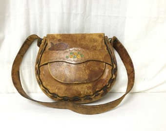 Leather Hippie purse,bags purses,60s,70s,Leather Purse, Shoulder Bag, FREE SHIPPING in the US