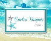 "Beach Wedding Place Card Template Printable Escort Card Template - ""Blissful Starfish"" Ocean Silver DIY Wedding - Wedding Reception Seating"