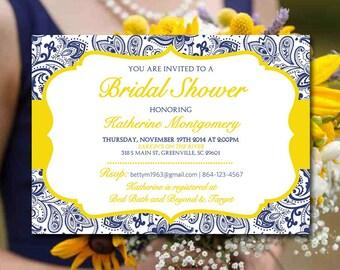 Lemon mint invite etsy bridal shower invitation template navy blue lemon yellow bridal luncheon template chic paisley stopboris Images
