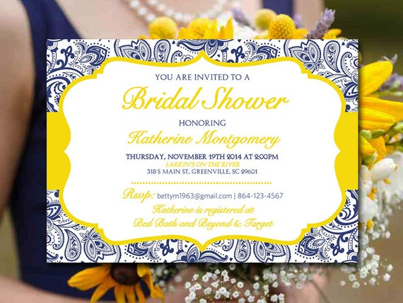 Blue And Yellow Wedding Invitations: Bridal Shower Invitation Template Navy Blue Lemon Yellow