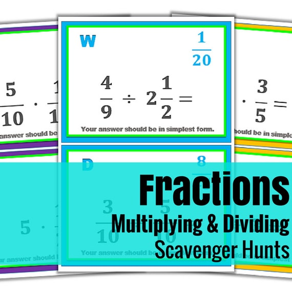Multiplying & Dividing Fractions Scavenger Hunts - Set of 3