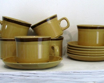 vintage set of 6 cup and saucers ginger stoneware casual dinnerware japan