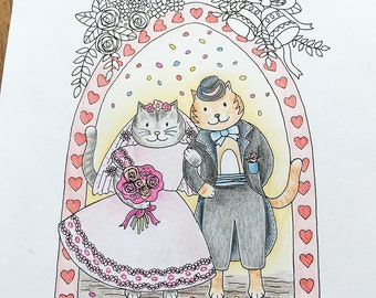 coloring pages for adults wedding gift unique wedding gift wedding cat wedding