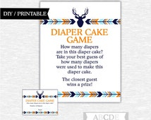 Instant Download Orange, Blue, Dark Navy Woodland Baby Shower Party Diaper cake game Baby shower DIY Printable (PDWSI016)