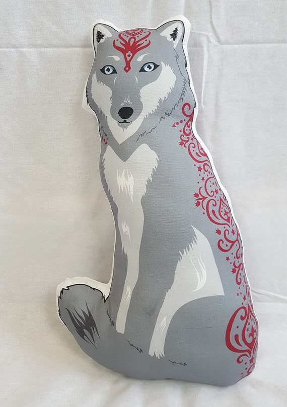 Wolf Doll/Pillow - Grey Wolf Rayne Redwolf