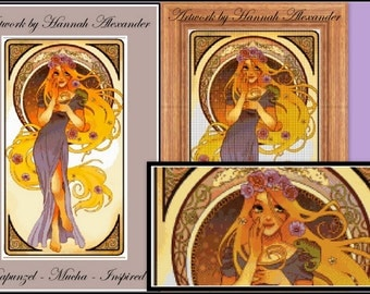 Rapunzel - Mucha-inspired - Artwork by Hannah Alexander - cross stitch pattern - cross stitch Rapunzel - PDF pattern - Instant download!