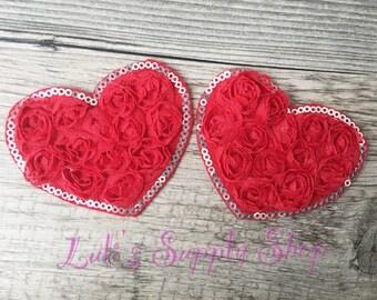 "Red Valentines Chiffon Rosette Hearts - 3"" Shabby Chiffon Heart Appliques - Valentine's day Fabric & Sequin Heart Applique -"