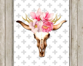 8x10 Watercolor Bull Skull Printable Art, Skull Poster, Boho Animal Print, Floral Art Poster, South Western Wall Art, Instant Download
