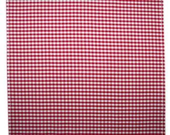 Handmade red gingham cotton pocket handkerchief hankie hanky