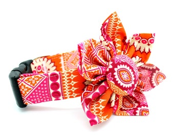 Pink Dog Collar with Flower Attachment- FC-5226