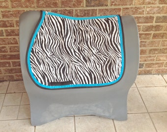 Custom Made English Saddle Pad in Zebra Print with Colored Ribbon  Accents