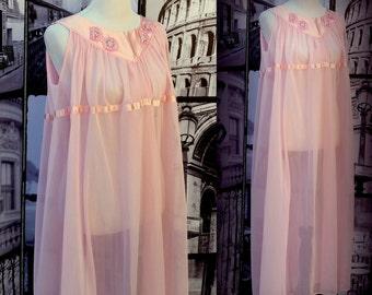 80s XL Pretty Pink Nightgown - Translucent Chiffon - Satin - Floral Appliques - Retro Nightgown - Size XL PLUS