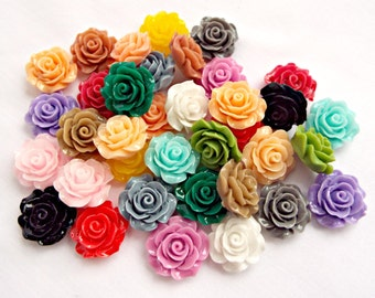 30 Flower Cabochons, 20mm Rose Cabochons, Flower Embellishment, Mixed Colors, Flatback Cabochon, Rose Jewelry, Resin Deco Cabs, UK Seller