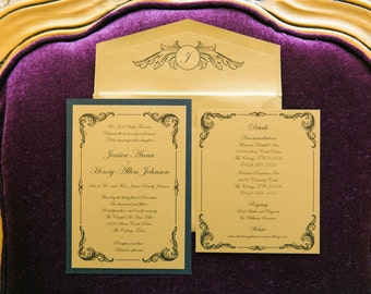 5x7 Metallic Gold & Black Elegant Vintage New Year's Eve Wedding Invitation with Insert, RSVP and Envelope Return Address Printing
