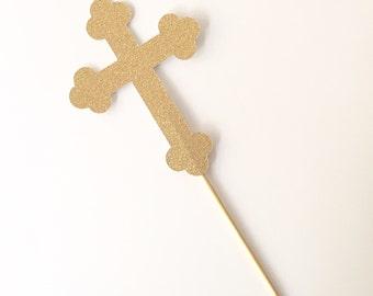 Cross Cake Topper - Gold Glitter Christening Baptism Cake Topper