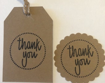 Kraft handstamped thank you tags