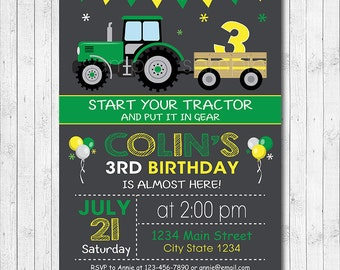 Tractor Birthday Invitation, Tractor Invite,  Farmer Invitation, Digital printable Invitation