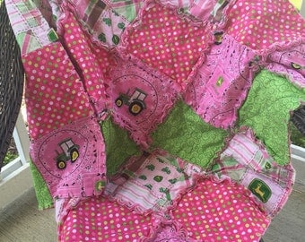 Pink JOHN DEERE baby quilt, blanket, pink, toddler, green, paisly, tractor 35x35