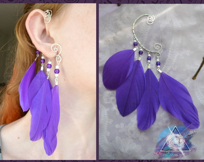 Ear cuff with purple feathers | Feather ear cuff, boho ear cuff, quasarshop, boho asseccories, bird jewelry, ethnic, earcuffs
