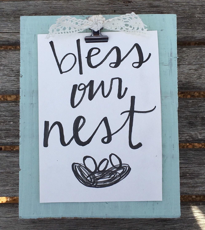Bless Our Nest Handmade Sign Wooden Block Sign