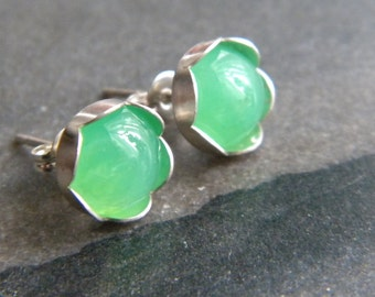 8mm Green Chrysoprase Cabochon Studs, Green Gemstones, Sterling Silver Posts, Stud Earrings, Woman's Earrings, Gift, KarenWolfeCreations
