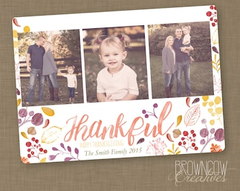 PRINTABLE Watercolor Thanksgiving Photo Card // Thankful Photo Card // Holiday Photo Card