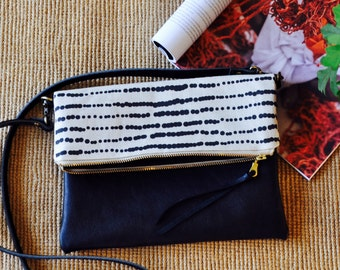 Leather Clutch - Ethical, Foldover Purse -Scandinavian Print - Handmade in Australia - Sling Bag
