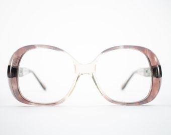 60s Vintage Eyeglasses   1960s Mod Clear Plum Oversized Round Glasses   NOS Eyeglass Frame   Deadstock Eyewear - Embrace Plum
