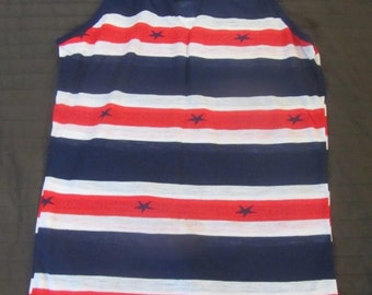 Vintage Deadstock Red White Blue Stars Stripes Tank Top Thin Floaty Small