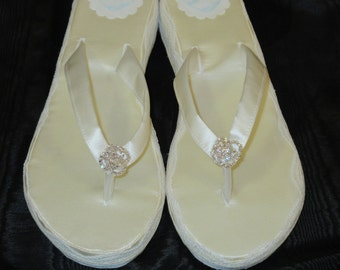 Size 10 to 10 1/2-Ivory Silk Satin Wedding Wedges-