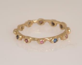 Gold Stacking Ring , Gold Thin Ring , Gemstone Gold Ring , Eternity Ring , Stacking Ring , Gold Eternity Ring , Unique Gemstone Ring